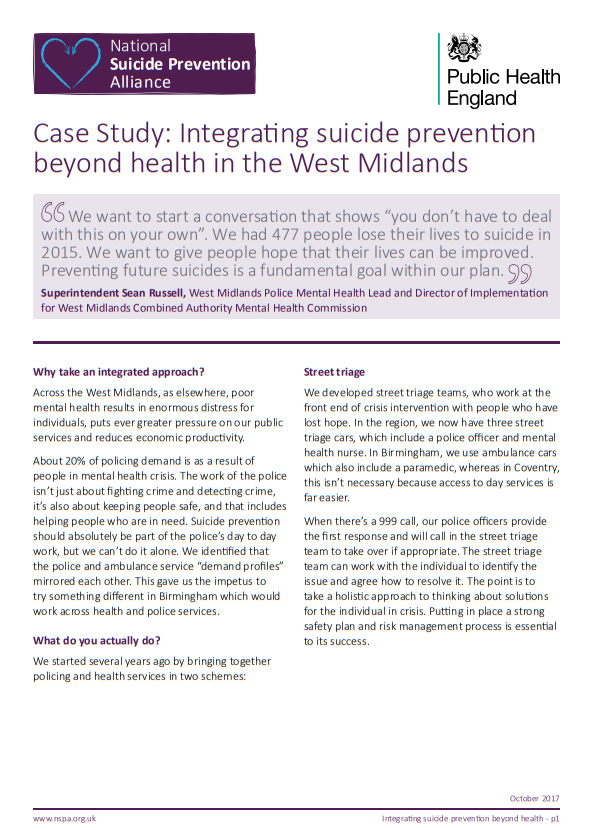 Case study integrating suicide prevention in the West Midlands