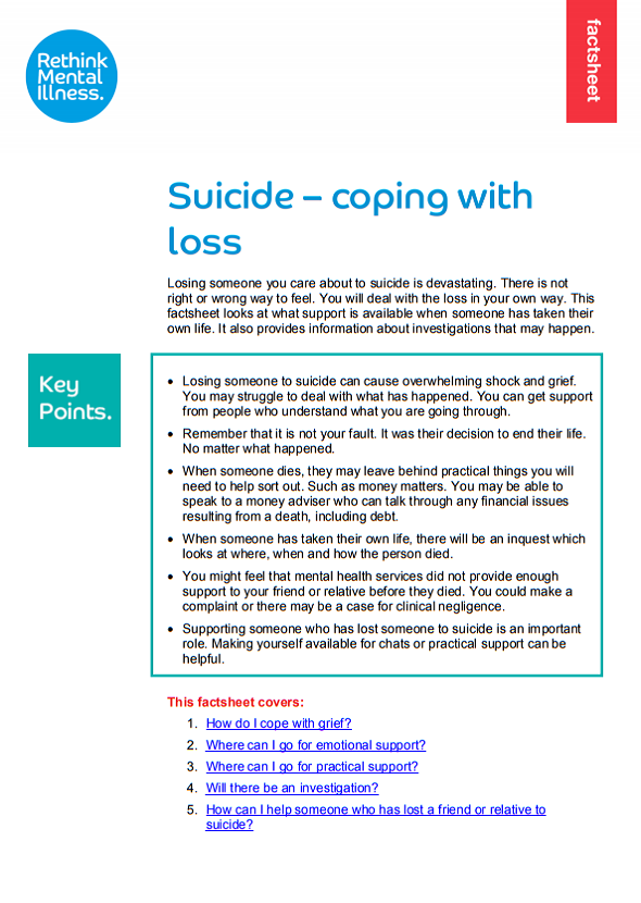 Coping with loss factsheet