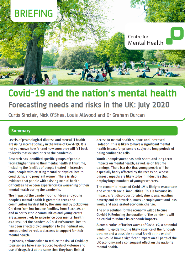 Covid-19 and the nation's mental health Forecasting needs and risks in the UK July 2020
