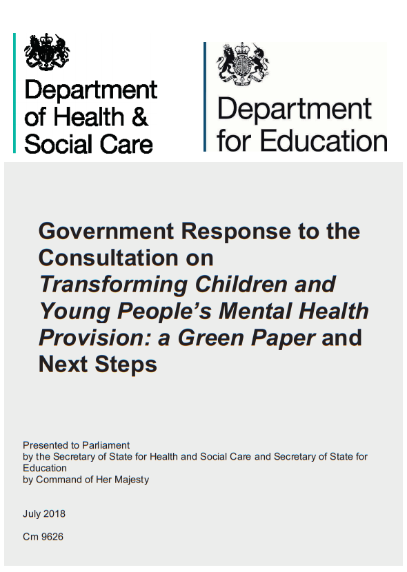 Government Response to the Consultation on Transforming Children and Young People's Mental Health Provision