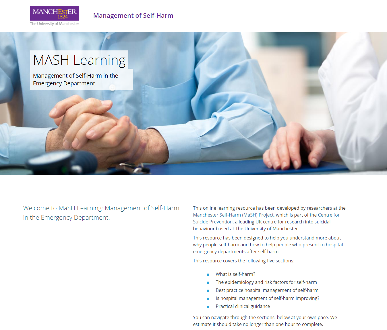 MaSH Learning Management of Self Harm in the Emergency Department