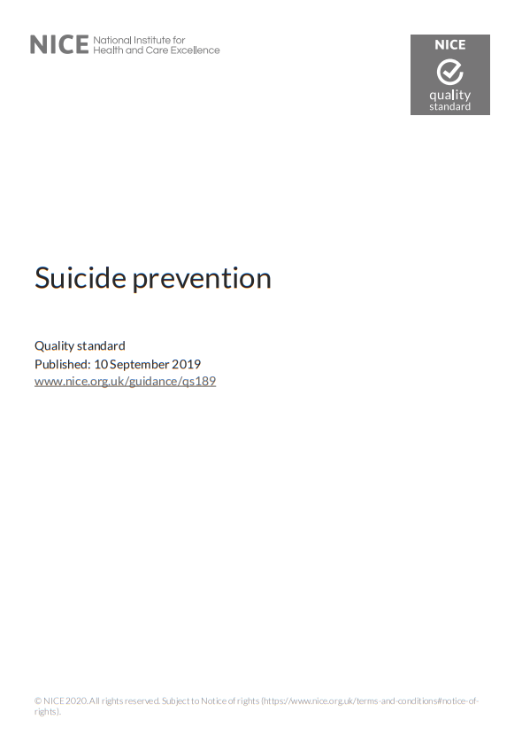 NICE Quality Standard – Suicide Prevention