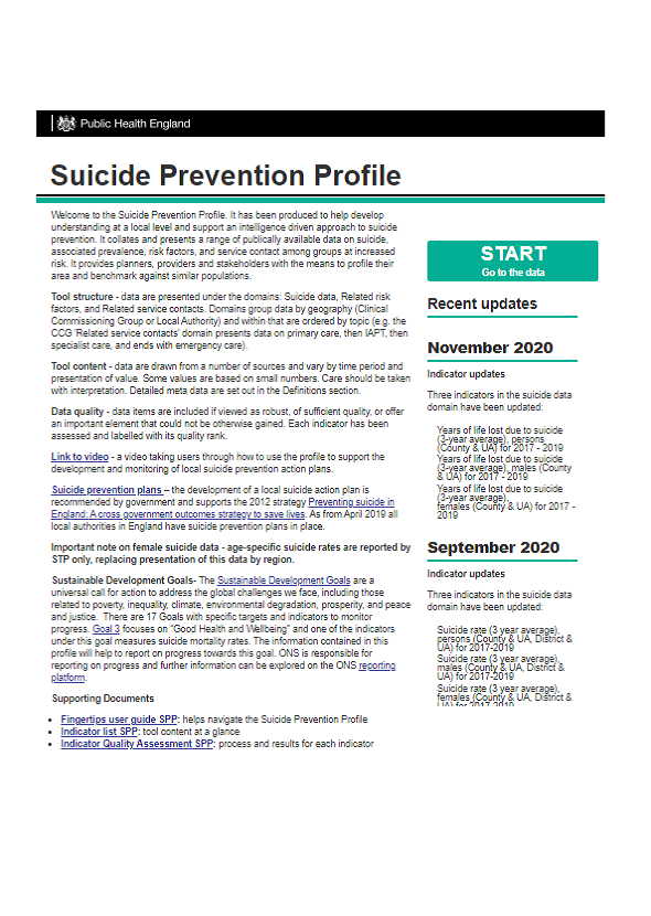 PHE's Fingertips Suicide Prevention Profile