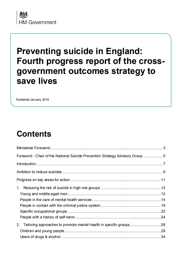 Preventing suicide in England Fourth progress report (2019)