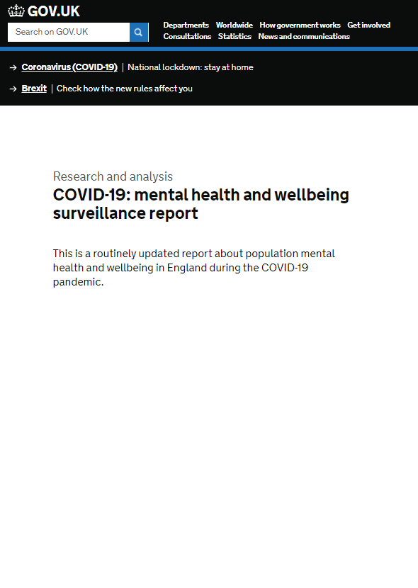 Public Health England COVID-19 mental health and wellbeing surveillance report