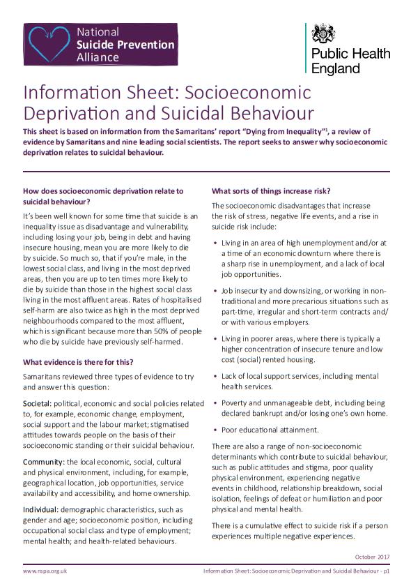 Socioeconomic deprivation and suicidal behaviour