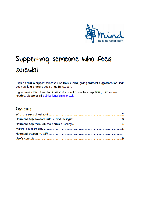 Supporting someone who feels suicidal